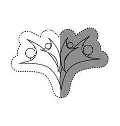 sticker of monochrome abstract contour of family vector image