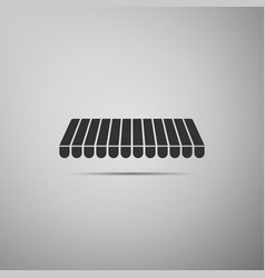 Striped awning icon isolated on grey background vector