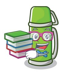 Student with book thermos character cartoon style vector