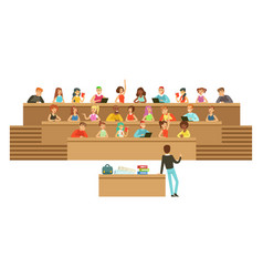 Students listening in a lecture hall in university vector