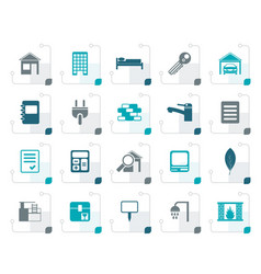 stylized real estate and building icons vector image