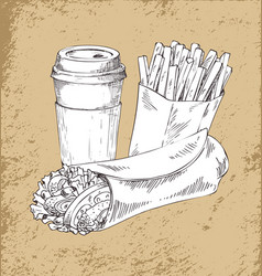takeaway food and drink sketch poster vector image