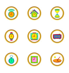Timers and watches icons set cartoon style vector