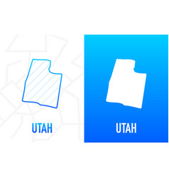 Utah - us state contour line in white and blue vector