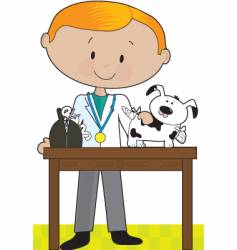 vet and dog vector image