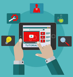 video tutorial on tablet concept vector image