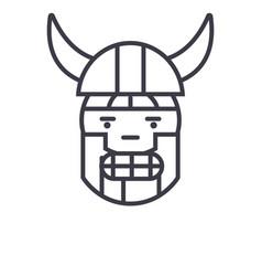 viking emoji concept line editable concept vector image