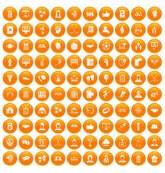 100 team icons set orange vector
