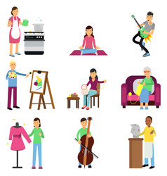 creative set of adult people and their hobbies vector image