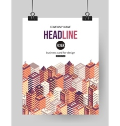 Flat isometric city brochure template with place vector image