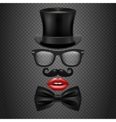 Mustache bow tie glasses red girl lips and vector image vector image