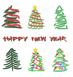 Set of abstract Christmas trees vector image