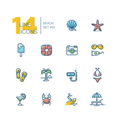 at the beach - thick line icons set vector image
