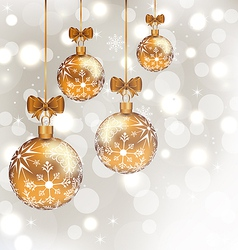 Glowing holiday background with set Christmas vector image vector image