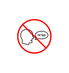 no swearing line icon prohibition sign forbidden vector image