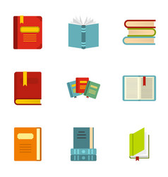 reading and learning icons set flat style vector image