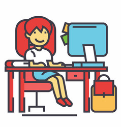 School girl study workplace table with computer vector