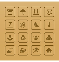 Set of packing symbols icon for box on cardboard vector image
