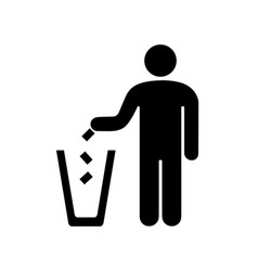 man throwing garbage in the urn vector image vector image
