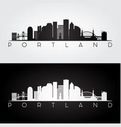 portland usa skyline and landmarks silhouette vector image