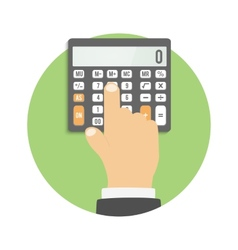 Calculator icon Hand considers on the calculator vector image