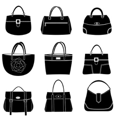 fashion bags icons vector image vector image