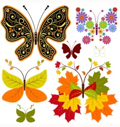 set abstract floral butterflies vector image