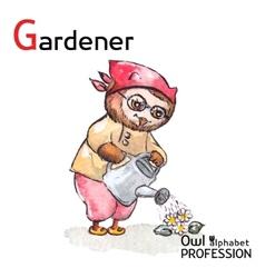 Alphabet professions Owl Letter G - Gardener vector