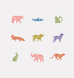 Animals floral graphic silhouettes color vector