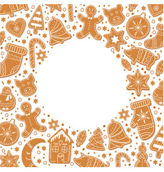 background merry christmas gingerbread cookies vector image