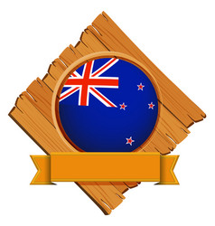 Badge design for flag of new zealand vector