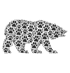 Bear pattern of paw footprint icons vector