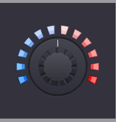 black round knob button with red and blue scale vector image