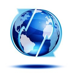 Blue globe with arrows vector image