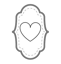 card love heart ornament line vector image
