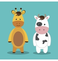 Cartoon animal cow giraffe plush stuffed design vector