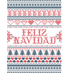 Christmas pattern feliz navidad i vector