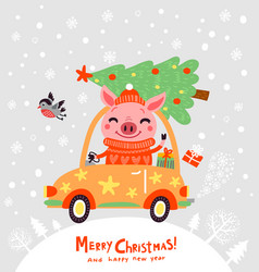 christmas pig tree vector image
