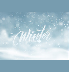 christmas winter snowy landscape background vector image