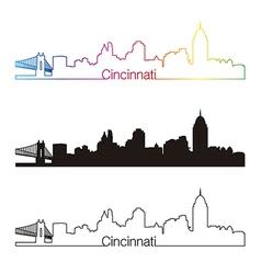 cincinnati skyline linear style with rainbow vector image
