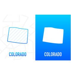 Colorado - us state contour line in white vector