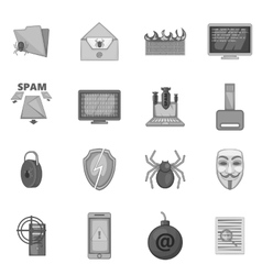 Computer security icons set gray monochrome style vector