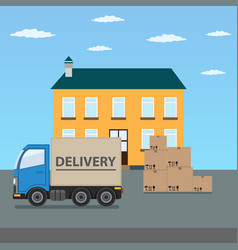 delivery truck with cardboard boxes near house vector image