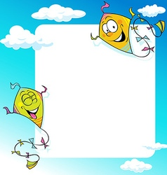 Design with two flying kite - frame vector