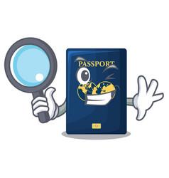 Detective blue passport above character wooden vector