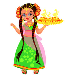 Diwali hindu holiday light and woman with flame vector