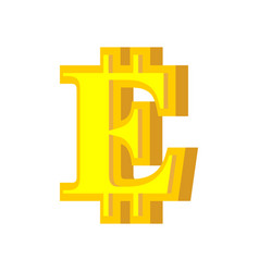 e letter bitcoin font cryptocurrency alphabet vector image