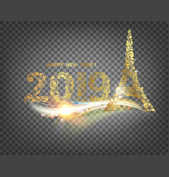eiffel tower icon with golden confetti 2019 sign vector image