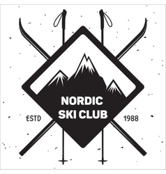 Emblem of Ski Club Vintage Mountain winter badge vector