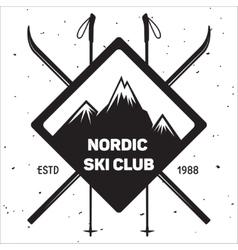 Emblem of ski club vintage mountain winter badge vector